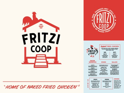 Fritzi Coop Elements eggs rooster brush lettering sign painting casual branding restaurant fried chicken coop chicken
