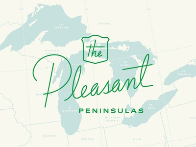 Pleasant Peninsulas vintage hand lettering lettering mono weight monoline script map michigan