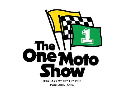 One Moto 2018 checkered flag racing motorcycle logo