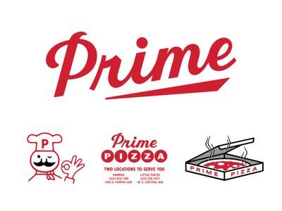 Prime Pizza branding logo restaurant lettering script pizza