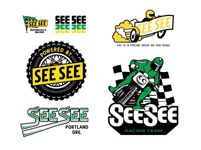 See See Graphix logo flag motor dirtbike tire motorcycle illustration lettering