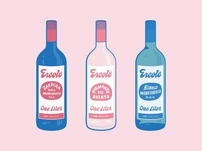 Ercole Bottles illustration wine bottle italy barbera italian logo lettering packaging wine