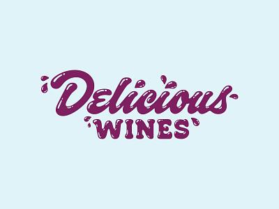 Delicious Wines drips wine lettering script