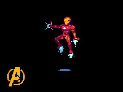 Iron Man marvel nintendo 2d pixelart art pixel