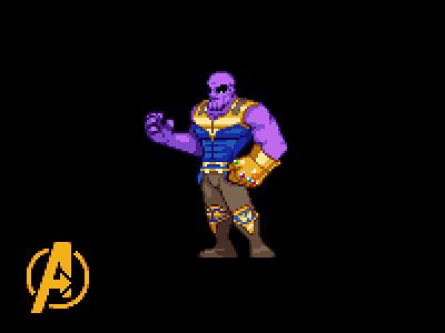 Thanos marvel game art pixel 2d pixelart