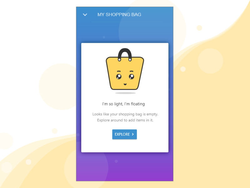 e9c48716499 Empty State Shopping Bag Gradient shopping bag ui gradient cart summary shopping  bag mockup empty state