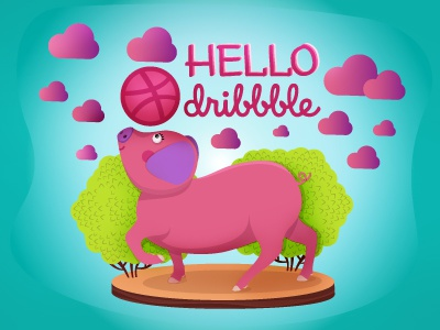 Hello Dribbble! piglet pig hello arrival debut first shot dribbble