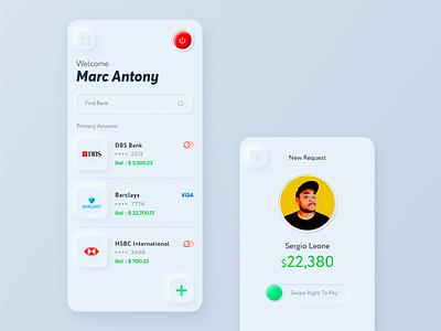 Neumorphic Wallet | Neumorphism Trend 2020 roundel digital skeumorphic neumorphism banking wallet white red green colors minimal light iphone design ios ux ui mobile app uiux