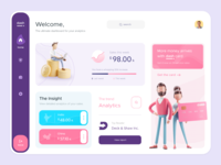 Dash. | Analytics Dashboard visual design web app website 3d character character 3d pattern progress chart graph icons xd sketch dashboard illustration web design design interaction design ui uiux