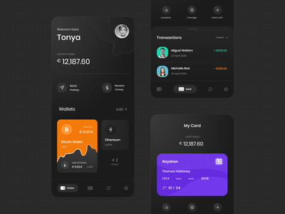 Rayshen | Crypto Wallet App currency trending transaction wallet finance banking dark ui cards ui crypto cryptocurrency crypto wallet android ios design ux interaction design ui mobile app uiux