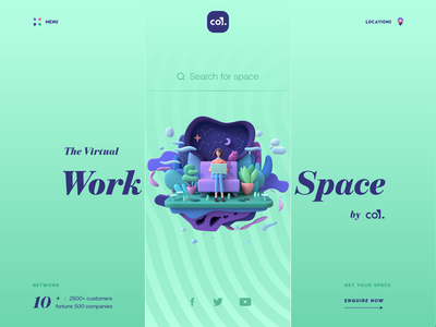 Virtual Workspace by CO. | Open workspace work from home typogaphy sketch xd workspace work search landing page icon pattern 3d ilustration 3d art illustration website web design ux ui app uiux