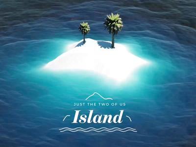 Island | Just the Two of Us | 3d Animation illustration design logotype logo landscape nature trees sea wave simulation art lighting render octanerender cinema4d 3d artist 3d animation 3d art 3d
