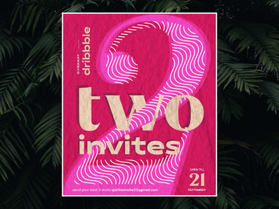 Dribbble Invites Giveaway   Grab soon! Till Sep 21 design sound animation draft clean 2020 welcome video minimal card ticket invitations giveaway invite dribbble invite typography illustration vector branding uiux