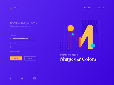 Mojo Login   Visual Exploration abstract signup login design studio serif font web desgin branding illustration ui typography design logo rapidgems studio uiux