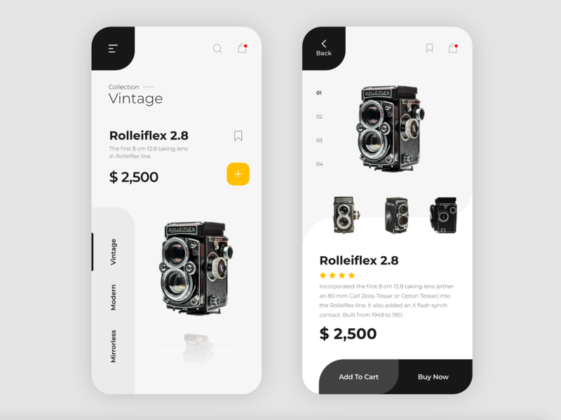 eCommerce App Vintage Camera detail page uidesign visual rounded card yellow ecommerce shopping screen minimal white black camera ios icon ux typography vector mobile app