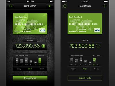 iOS6 to iOS7 mobile wallet ios app money app wallet app ui mobile ui dark ui