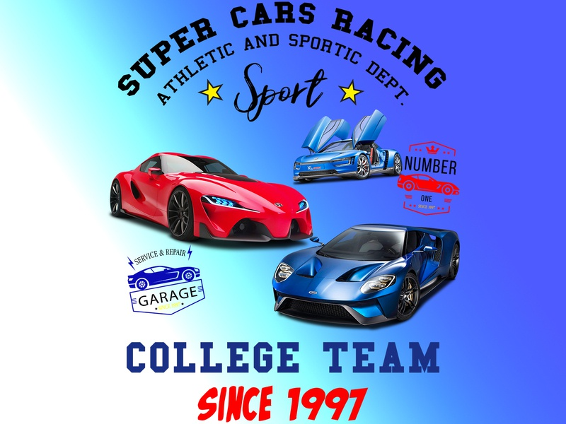 Super Cars Racing logo children cartoon car