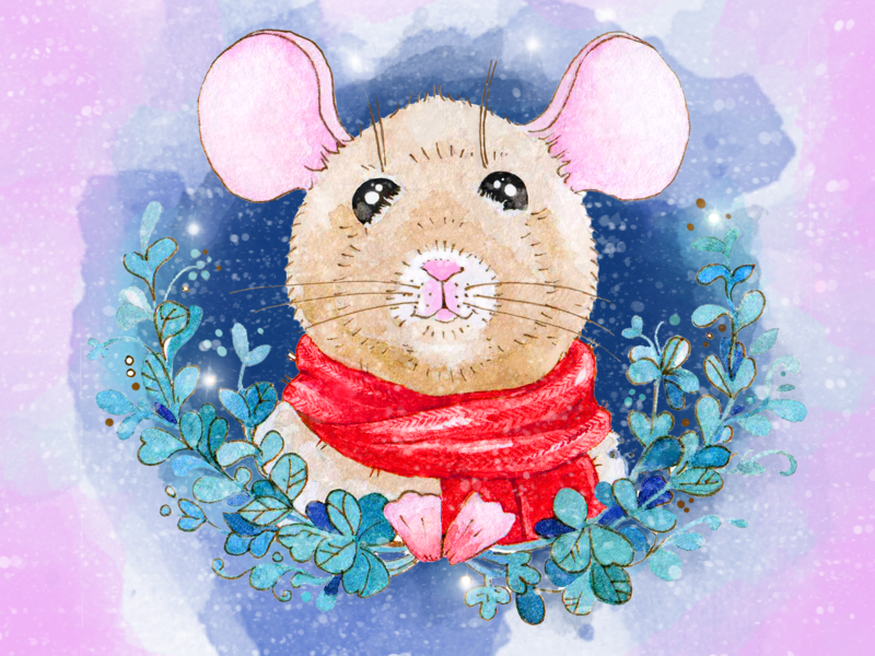 @2 Watercolor Christmas card  2020 children color illustration new year aquarelle cads mouse snow christmas