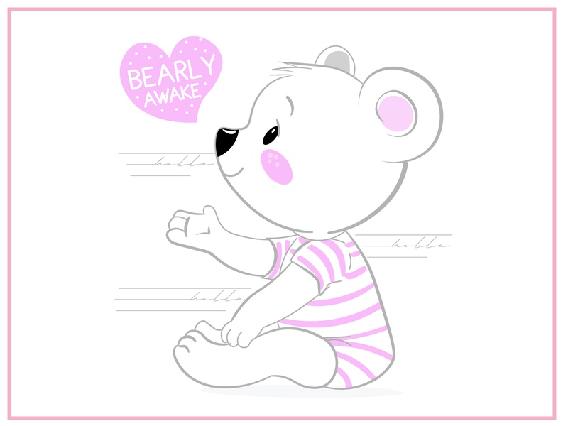 Bear awake bear t-shirt design color children illustration cartoon