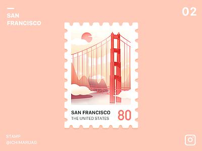 Stamp San Francisco icon ui stamp sun us red sanfrancisco the united states illustration