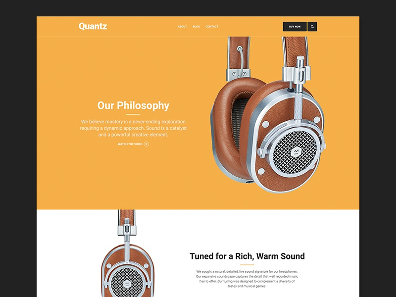 Quantz yellow headphones mobile theme web