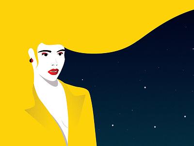 Night night vector stars lady girl illustration