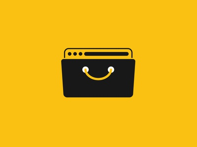 Smiling browser bag branding icon logo ecommerce stores