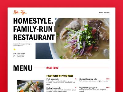 BẮC KỲ web design parallax design ui restaurant website