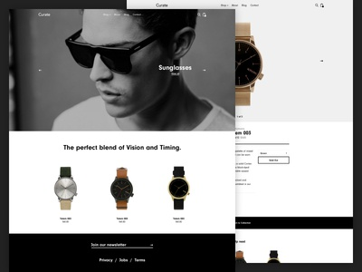 Curate ecommerce simple clean e-commerce sunglasses ui watches luxe luxury web design
