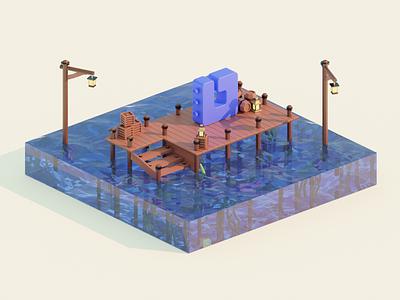 Octohook low-poly scene barrels lamppost planks logo sea octopus lowpoly blender 3d