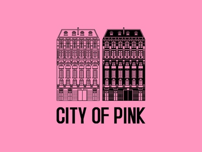 Ausscity - City Of Pink pink love paris t-shirt building illustration