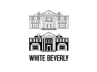 Ausscity - White Beverly california t-shirt building illustration