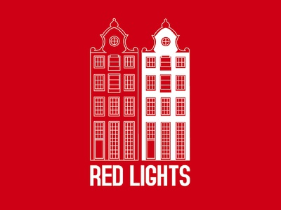 Ausscity - Red Lights red amsterdam t-shirt building illustration