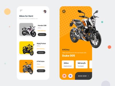 Rent a bike - Mobile App | 1 Dribbble Invite | Free UI Kit