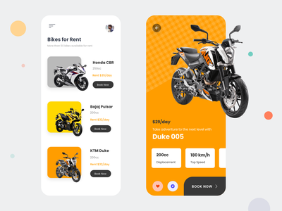 Rent a bike - Mobile App | Free UI Kit adventure saransh verma brand design branding illustrations bike bikers bookings booking booking app uxdesign uidesign rent a bike bike ride bikes mobile app design mobile design mobile ui mobile app mobile