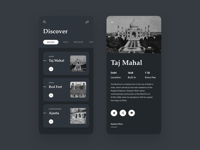 Explore Places | Mobile App | Dark Mode | Light Mode typographic typography vintage design ancient taj mahal detail page listing page travel agency travelling travel app light ui dark theme dark mode dark ui mobile design mobile app mobile ui mobile uxdesign uidesign