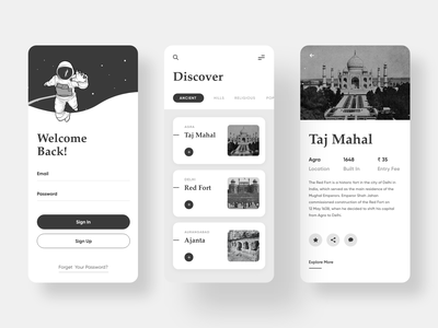 Travel Mobile App - Discover your path detail page taj mahal black and white black white clean ui discover listings listing page ancient signup sign in travelling travel app mobile app design mobile design mobile app mobile ui mobile uxdesign uidesign