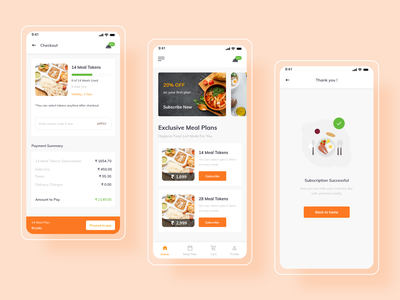 Meal Planner Mobile App | 1 Dribbble Invite success message successful payment screen subscriptions graphic design graphics food illustration food and drink food app meal planner meal plan meals mobile app design mobile design mobile app mobile ui mobile product design uxdesign uidesign