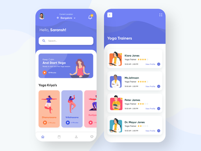Yoga Mobile App yoga mat blue product product design product page yoga studio search bar trainers doctor app illustrations yoga illustration yoga pose yoga app mobile app design mobile design mobile app mobile ui mobile uxdesign uidesign