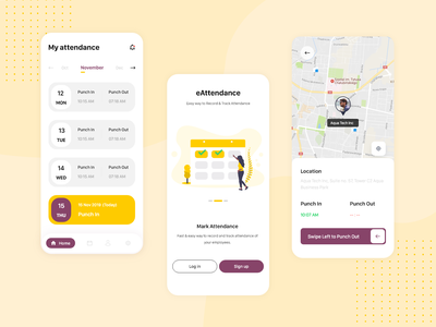 Attendance App UI + 1 Dribbble Invite google maps map ui maps yellow illustration mobile app mobile mobile design punch in punch out punching calendar ui product design product page signup login attendance mobile app design uxdesign uidesign