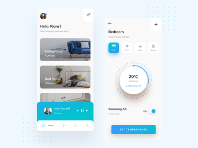 Smart Home Mobile App ios app mobile app mobile saransh verma gradients music player smart home app smarthome smart home temperature ui typogaphy product page mobile app design mobile design mobile ui product design branding uxdesign uidesign
