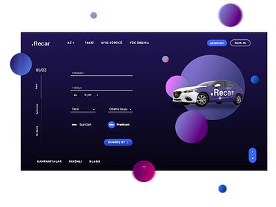 Recar landing page ui ux funny bubble design interface service web website taxi