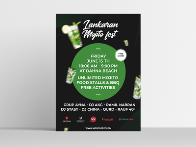 Promotional poster for Lankaran Mojito Fest. free drink lankaran baku azerbaijan design ui festival mojito fest poster