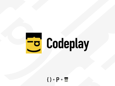 Codeplay style lego design character children play coding logotype logo