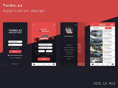 """Turbo Az"" Car buying App   IOS UI Kit dashboard user interface mobile red design car ui ux application app"