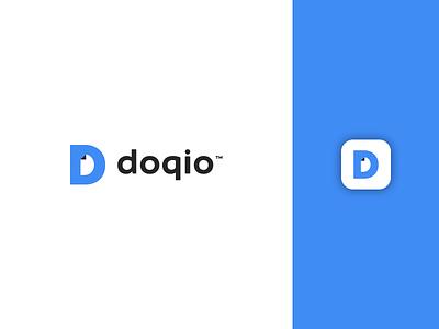 Doqio free management website flat vector application digital style branding dribbble icon app mark design doc blue bird logo document letter d