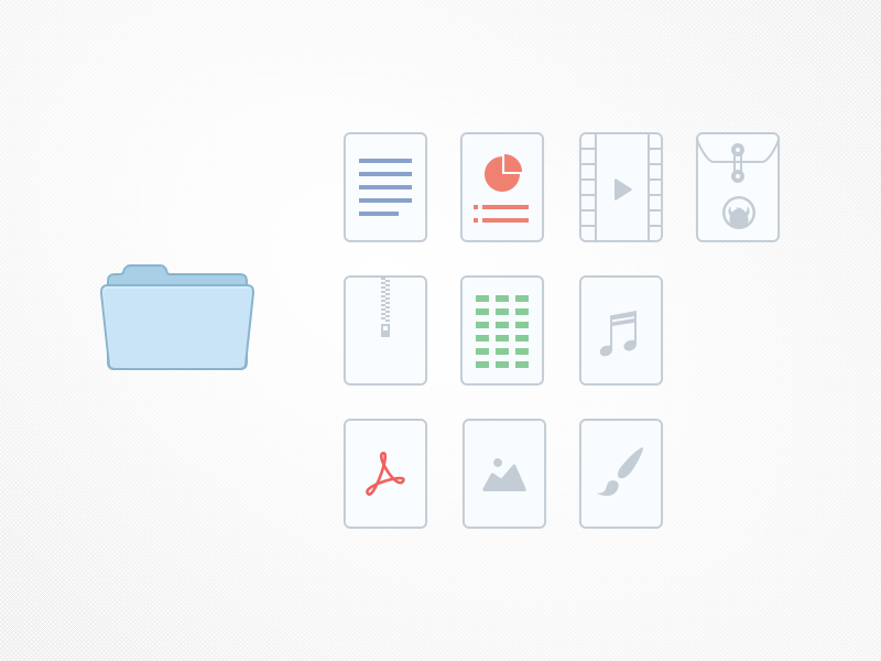 File icons word excel video custom file zip audio sound pdf image creative psd