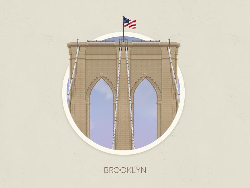 Brooklyn bridge badge brooklyn bridge badge nyc illustration photoshop new york city travel dreams adventure huge