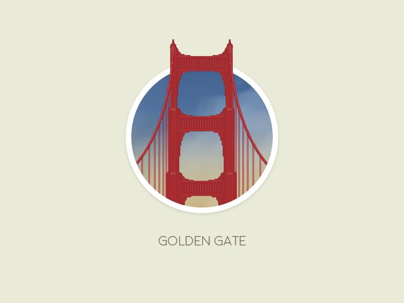 Golden Gate Badge sf golden gate bridge badge san francisco california dream huge gar illustration photoshop