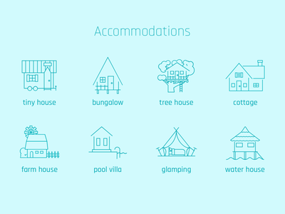Accommodations 1 - line icons water house clamping pool villa farm house cottage tree house bungalow tiny house accommodations accommodation